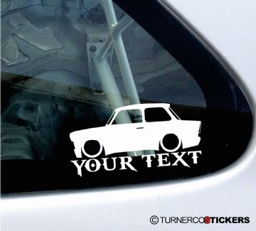 2x Custom YOUR TEXT Lowered car stickers - for  Trabant 601 sedan / limousine oldtimer classic